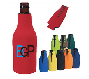 Promotional Zip Up Long Neck Custom Bottle Cooler