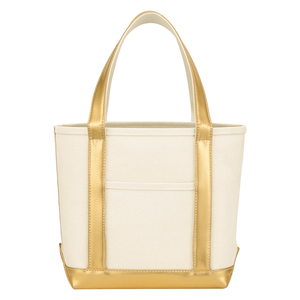 Metallic Accent Heavy Cotton Canvas Boat Tote Bag