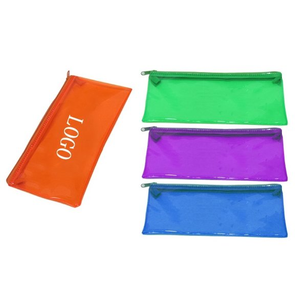 Printed Semi Clear PVC Zipped Pencil Cases For School