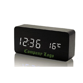 Promotional Voice Control Wooden Digital Alarm Clock
