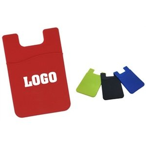 Imprinted Econo Silicone Phone Wallet Pocket