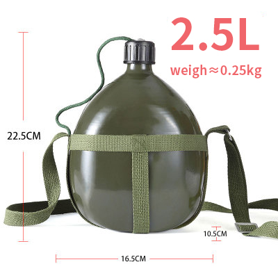 Portable Aluminium Military Army 2L Water Bottle