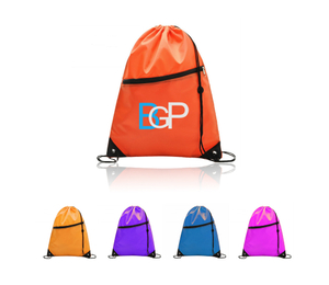 Promotional Drawstring Backpack With Earbud Hole