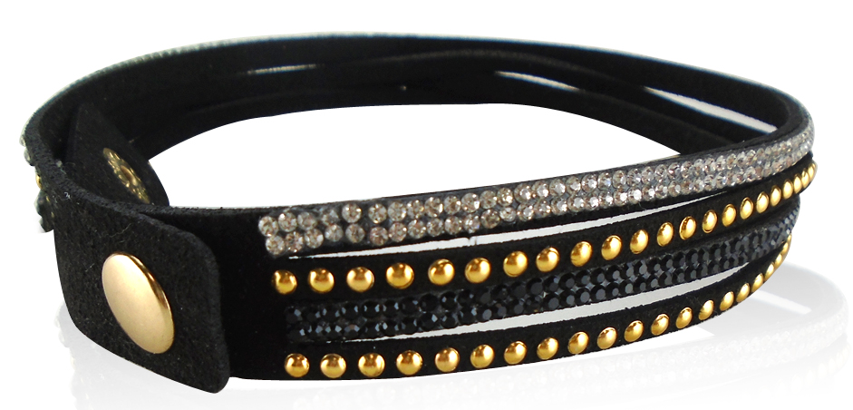 Custom Made Hot Handmade Rivet Velvet Bling Rhinestone Bracelet