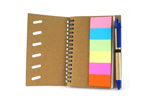 Custom Promotional Eco-recycled Notebook With Sticky Notes And Pen