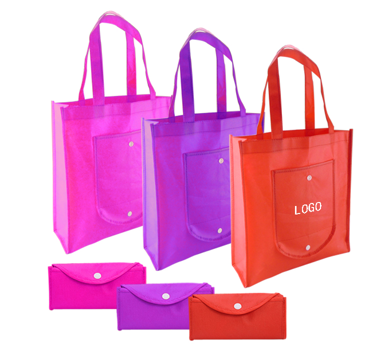 Promotional Logoed Custom Snap Up Folding Non-woven Shopper Grocery Tote Bag
